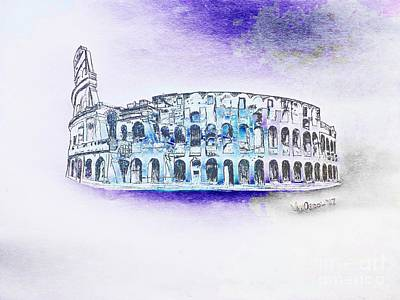 Roman Colosseum Ancient Ruins - Ice Age Abstract Original