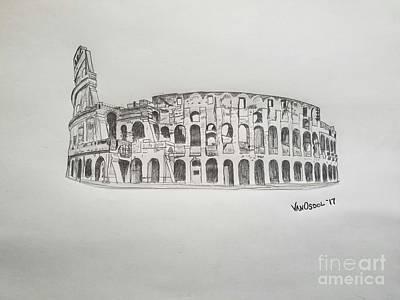 Drawing - Roman Colosseum Ancient Ruins by Scott D Van Osdol