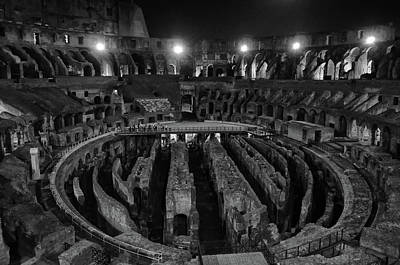 Photograph - Roman Colosseum Interior And Underground At Night Black And White by Shawn O'Brien