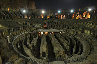 Photograph - Roman Colosseum Interior And Underground At Night by Shawn O'Brien
