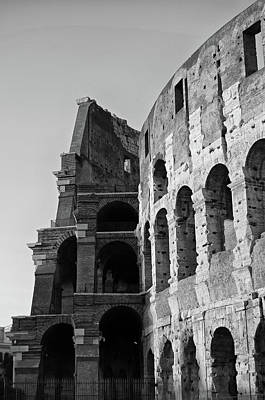 Photograph - Roman Colosseum Interior Cross Section At Sunset Black And White by Shawn O'Brien