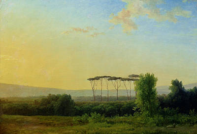 Sunset Painting - Roman Countryside by Pierre Henri de Valenciennes