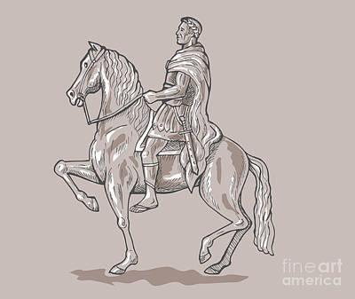 Roman Emperor Riding Horse Art Print by Aloysius Patrimonio