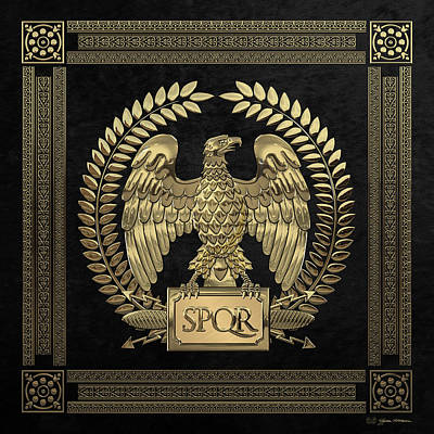 Digital Art - Roman Empire - Gold Imperial Eagle Over Black Velvet by Serge Averbukh