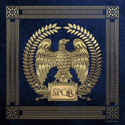 Digital Art - Roman Empire - Gold Imperial Eagle Over Blue Velvet by Serge Averbukh