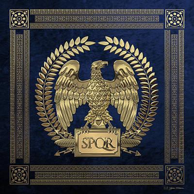 Digital Art - Roman Empire - Gold Imperial Eagle Over Blue Velvet by Serge Averbukh