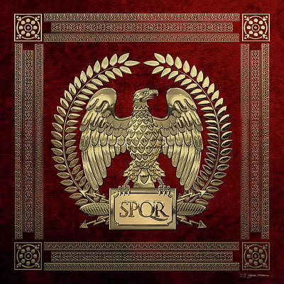 Digital Art - Roman Empire - Gold Imperial Eagle Over Red Velvet by Serge Averbukh
