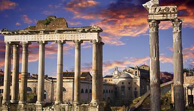 Ancient Rome Photograph - Roman Forum On Fire by John  Bartosik