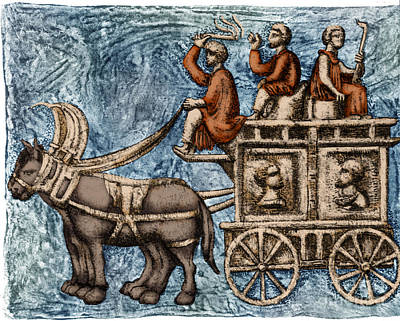 Roman Four-wheeled Traveling Wagon Art Print by Science Source