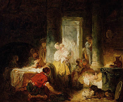 Puppy Painting - Roman Interior by Jean-Honore Fragonard