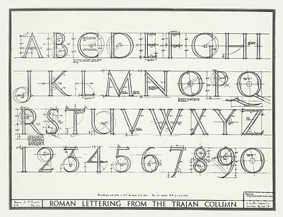 Grid Drawing - Roman Lettering From The Trajan Column by English School