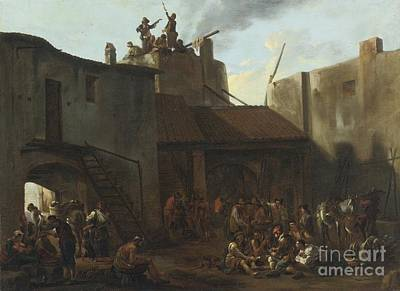 Roman Lime Kiln With Peasants Gambling Art Print by Celestial Images