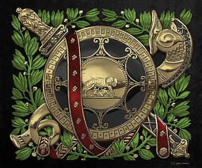 Digital Art - Roman Military Attributes Over Black Velvet by Serge Averbukh