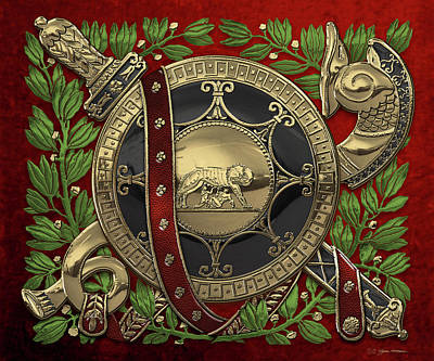 Digital Art - Roman Military Attributes Over Red Velvet by Serge Averbukh