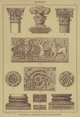 Roman, Ornamental Architecture And Sculpture Art Print by German School