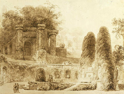 Landscape Drawing - Roman Park With Fountain  by Jean-Honore Fragonard