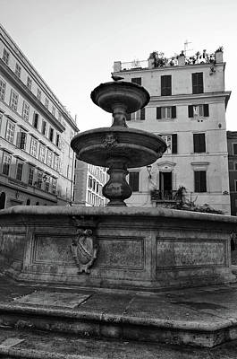 Photograph - Roman Piazza Fountain Urban Street Scene Black And White by Shawn O'Brien