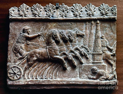 Photograph - Roman Relief: Chariot Race by Granger