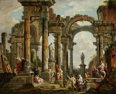 Ancient Roman Painting - Roman Ruin Architecture With Predigendem St. Paul by Giovanni Paolo Panini
