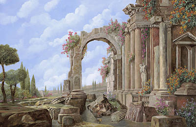Comedian Drawings - Roman ruins by Guido Borelli