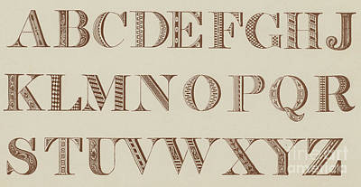 Typography Drawing - Roman Shaded, Various  by English School