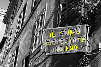 Photograph - Roman Urban Street Scene With Indian Restaurant Sign Color Splash Black And White by Shawn O'Brien