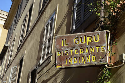 Photograph - Roman Urban Street Scene With Indian Restaurant Sign by Shawn O'Brien