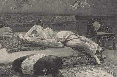 Interior Scene Drawing - Romance And Repose by English School