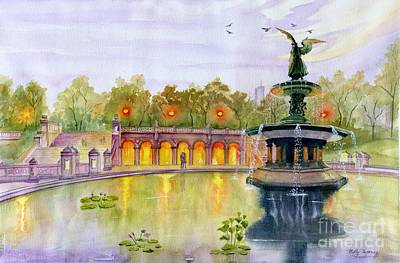 Painting - Romance At Central Park Nyc by Melly Terpening
