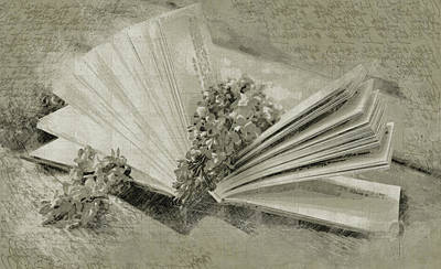 Etching Mixed Media - Romance In A Book by Georgiana Romanovna