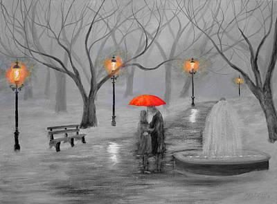 Romance In The Park Color Pop Art Print by Ken Figurski