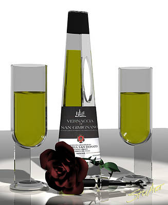 Digital Art - Romance Italian Contemporary Wine by Stuart Stone
