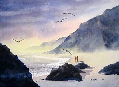 Romance Of The Cormorants Art Print by Shirley Braithwaite Hunt