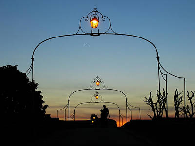 Romance On The Old Lantern Bridge Art Print