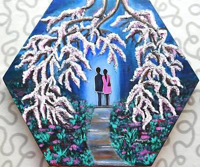 Painting - Romance Under Cherry Blossom Textured Hexagonal Painting  by Manjiri Kanvinde