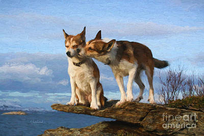 Water Dogs Mixed Media - Romancing Dogs by Garland Johnson