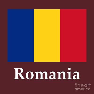Romania Mixed Media - Romania Flag And Name by Frederick Holiday