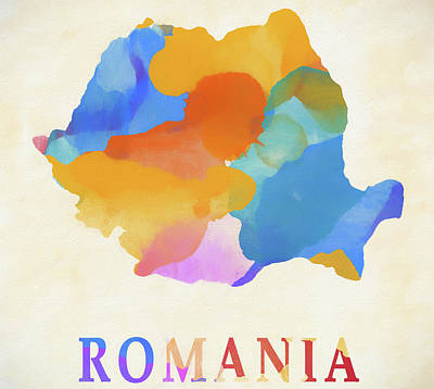 Painting - Romania Watercolor Map by Dan Sproul