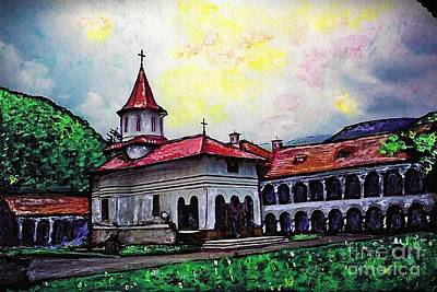Monasticism Mixed Media - Romanian Monastery by Sarah Loft