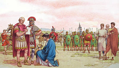 Military Uniform Painting - Romano British Appeal To General Aetius by Pat Nicolle