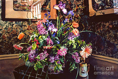 Floral Arrangement Painting - Romantic Arrangement by David Lloyd Glover