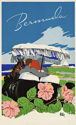 Horse Lovers Drawing - Romantic Bermuda Travel by Aapshop