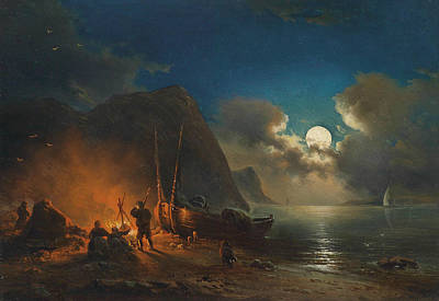 Painting - Romantic Campfire In The Moonlight by Johann Anton Castell