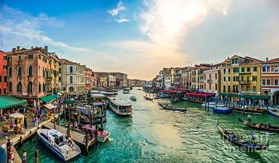 Venezia Photograph - Romantic Canal Grande On Rialto Bridge  by JR Photography