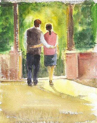 Painting - Romantic Couple by Asha Sudhaker Shenoy