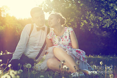 Girlfriend Photograph - Romantic Couple In Love Flirting On Grass In Sunny Park by Michal Bednarek