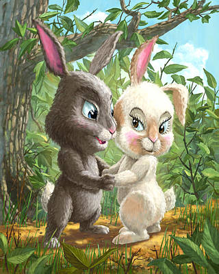 Painting - Romantic Cute Rabbits by Martin Davey