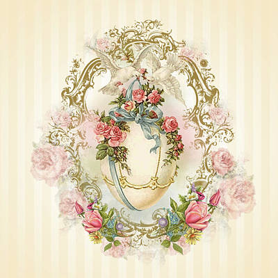Digital Art - Romantic Easter Celestial Egg With Golden Ornament And Rambling Roses by ReadyForYoga Online-Shop