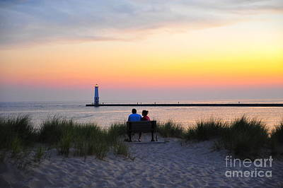 Michigan Photograph - Romantic Evening At Frankfurt North Breakwater Lighthouse by Terri Gostola