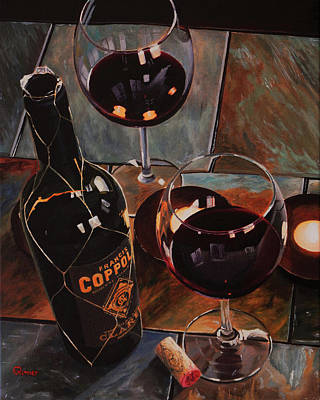Wine Reflection Art Painting - Romantic Evening by Eric Renner
